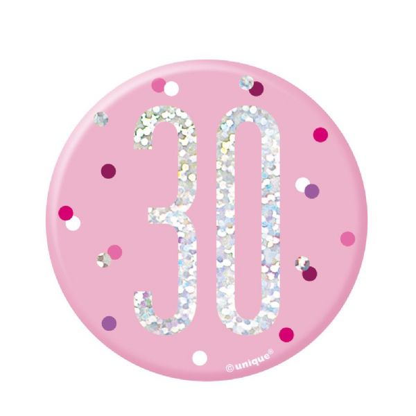 Pink Glitz Age Birthday Badges